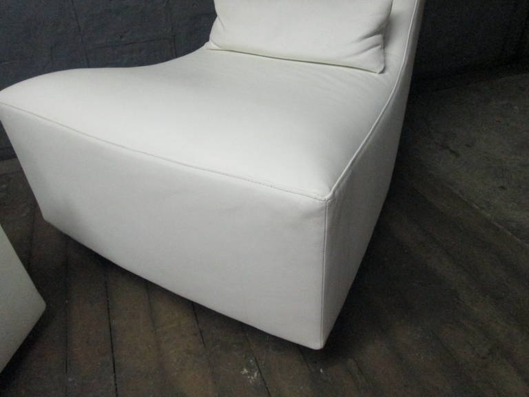 Leather Lounge Chair and Ottoman by Ligne Roset For Sale 2