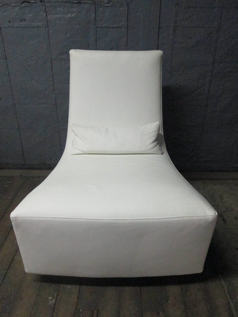Leather Lounge Chair and Ottoman by Ligne Roset In Good Condition For Sale In New York, NY