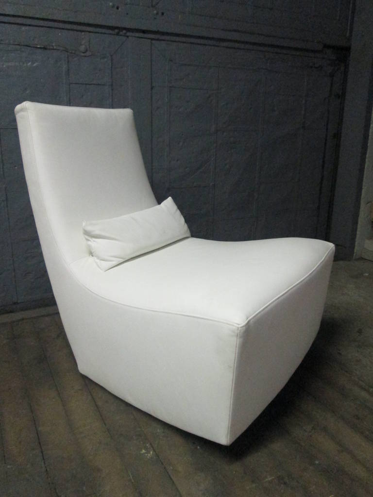 leather lounge chair and ottoman by ligne roset for sale. Black Bedroom Furniture Sets. Home Design Ideas