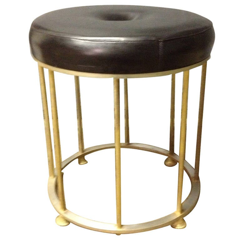 French Bronze and Steel Stool Attributed to Maison Jansen