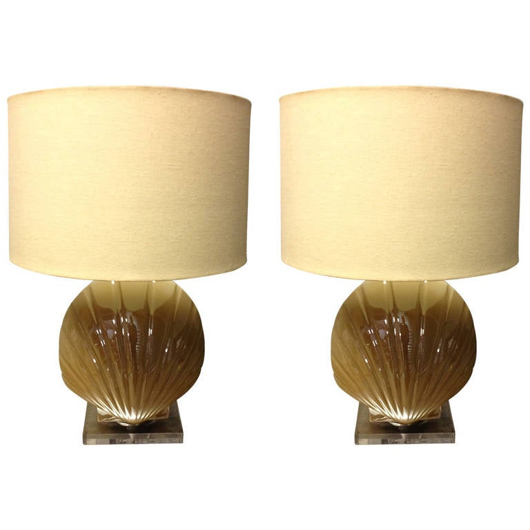 Pair of Glass Shell Form Lamps with Lucite Bases