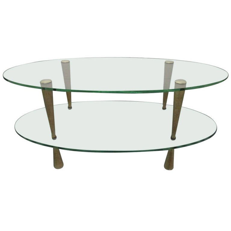 Art Deco TwoTier Glass Top Coffee Table at 1stdibs
