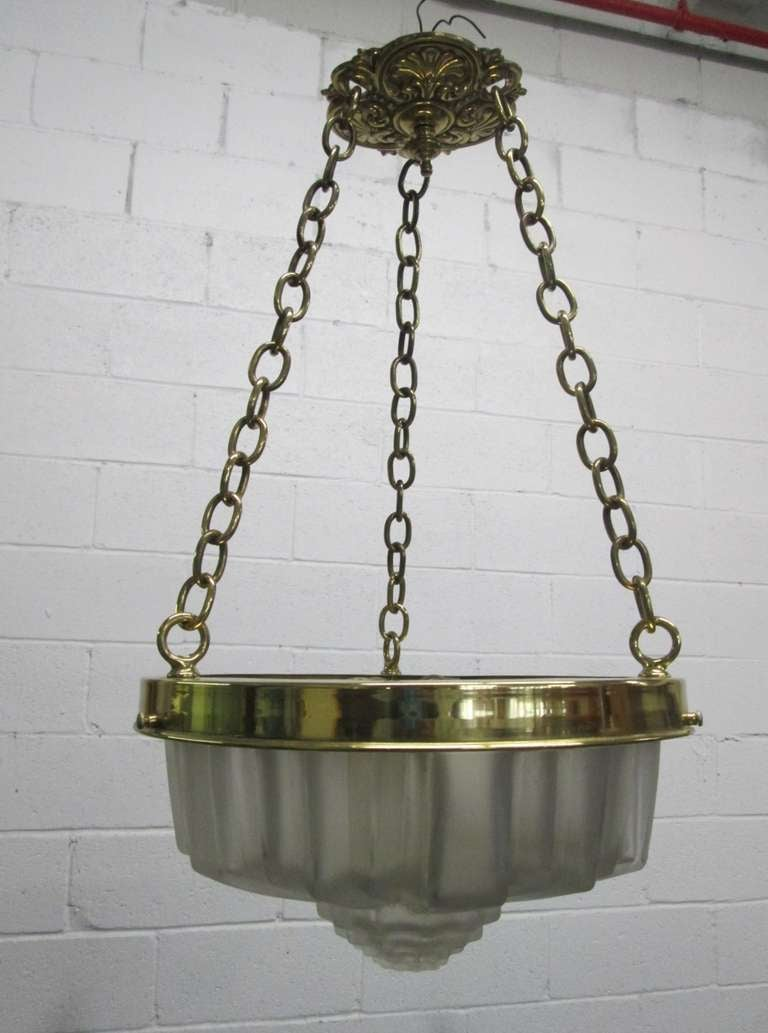 Art Deco molded glass hanging light fixture.