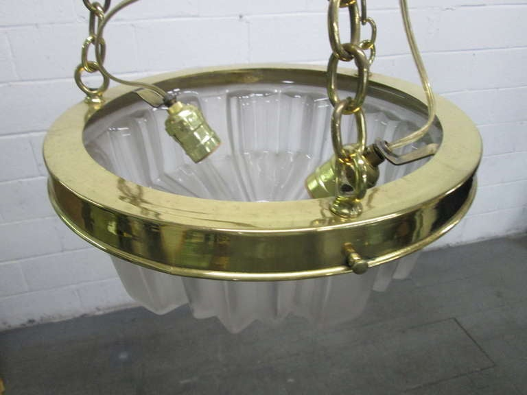 Mid-20th Century Art Deco Molded Glass Hanging Light Fixture For Sale