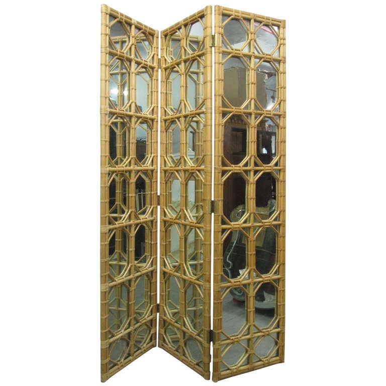 1960s 3 panel rattan and mirror floor screen room divider for sale at 1stdibs - 3 panel screen room divider ...