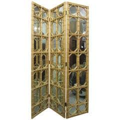 3 Panel Rattan & Mirror Floor Screen Room Divider