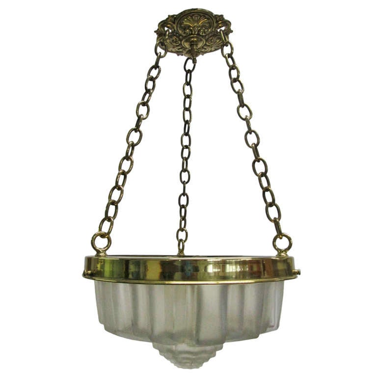 Art Deco Molded Glass Hanging Light Fixture For Sale