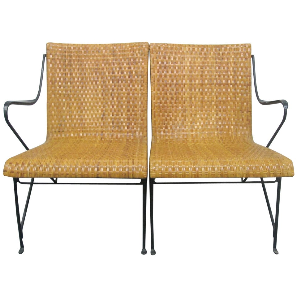 Van Keppel Green Chair In Wrought Iron And Rattan Loveseat At 1stdibs