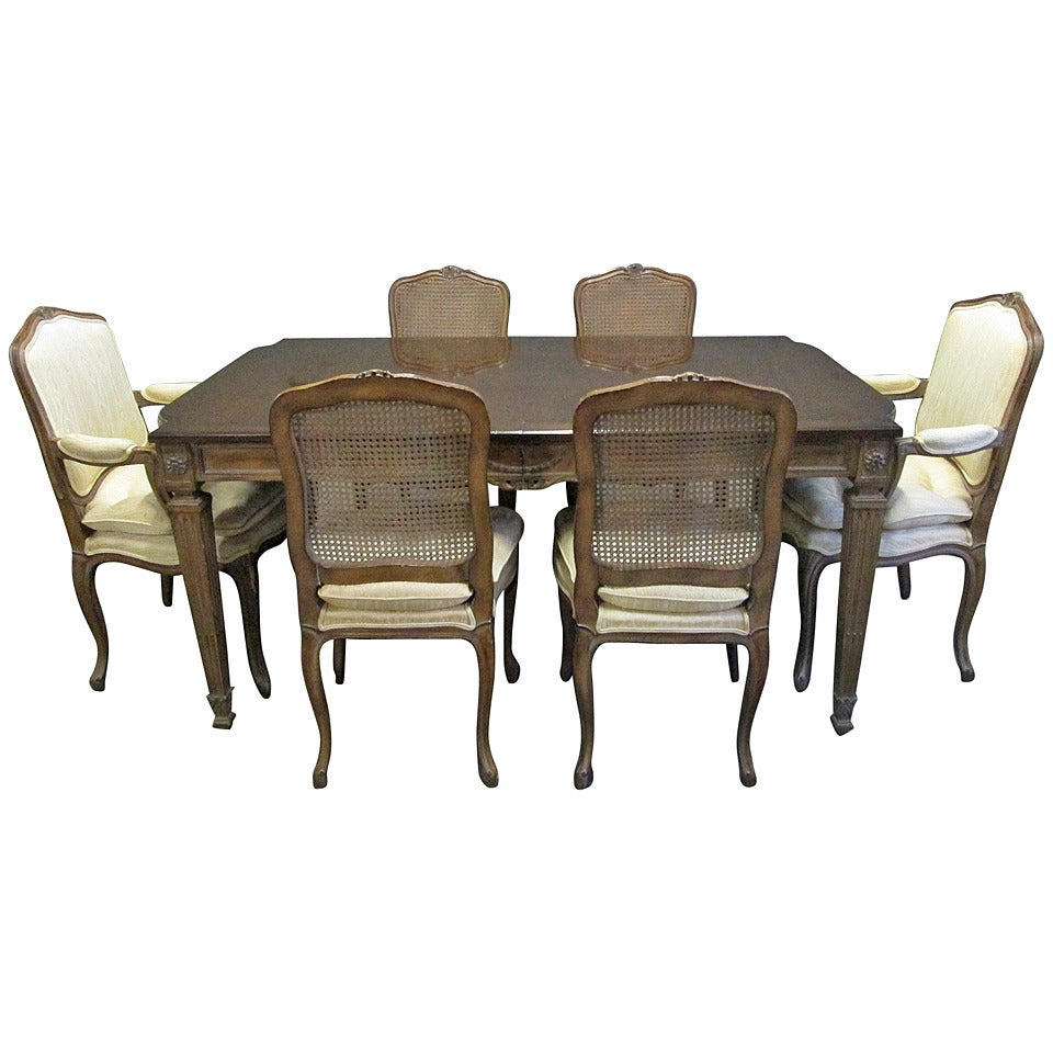 French Style Dining Set Cane Back Chairs Table W Two