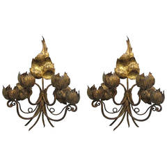 Pair of Italian Oversized Gilt Floral Sconces