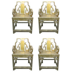 Set of Four Gilt Hardwood Chinese Armchairs