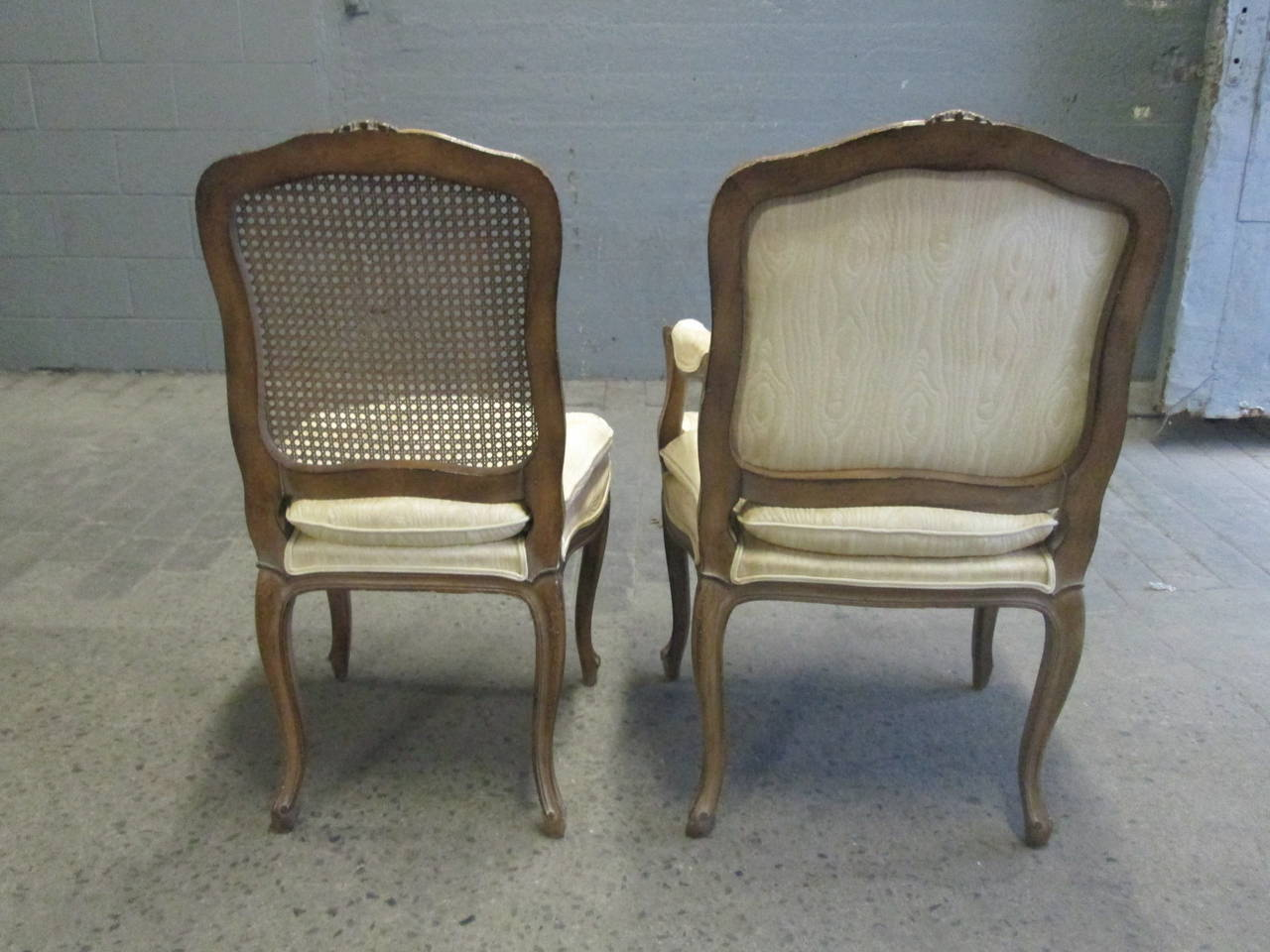 French Style Dining Set Cane Back Chairs Table W Two Leaves At 1stdibs