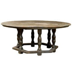 An American Round Top Painted Wood Dining Table with Hexagonal Base