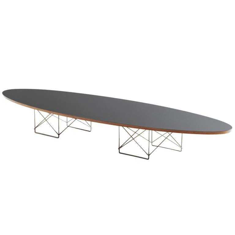 charles eames black elliptical surfboard table on ltr base at 1stdibs. Black Bedroom Furniture Sets. Home Design Ideas