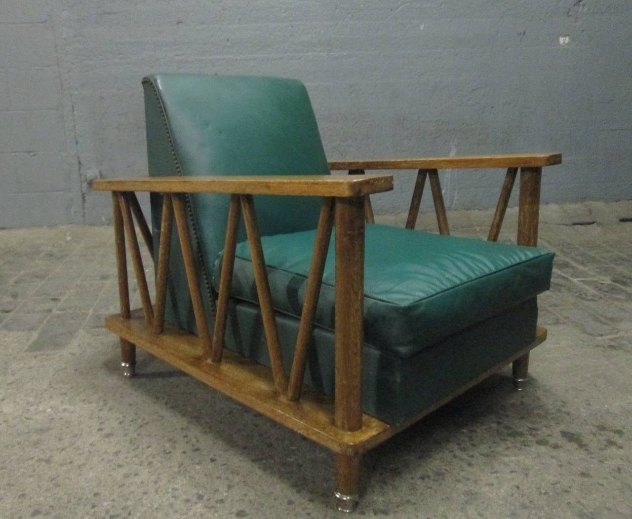 Pair of French Cerused Oak Lounge Chairs in the Style of Jean Michel Frank 2