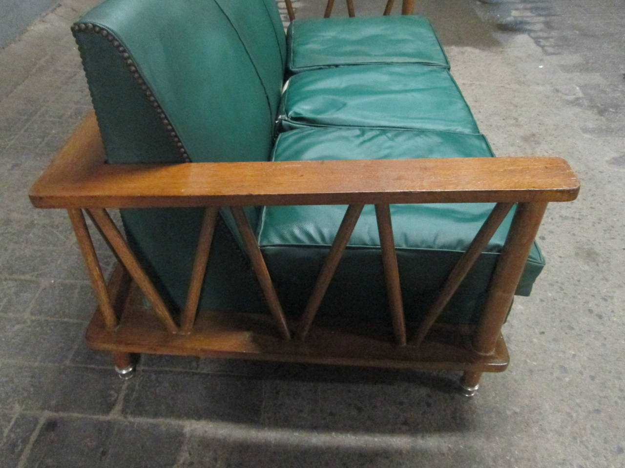Mid-20th Century French Cerused Oak Loveseat in the Style of Jean Michel Frank For Sale
