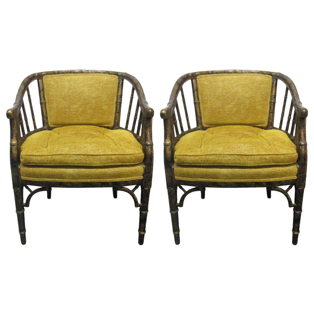 Pair Of Faux Bamboo Tortoise Finish Chairs For Sale At 1stdibs