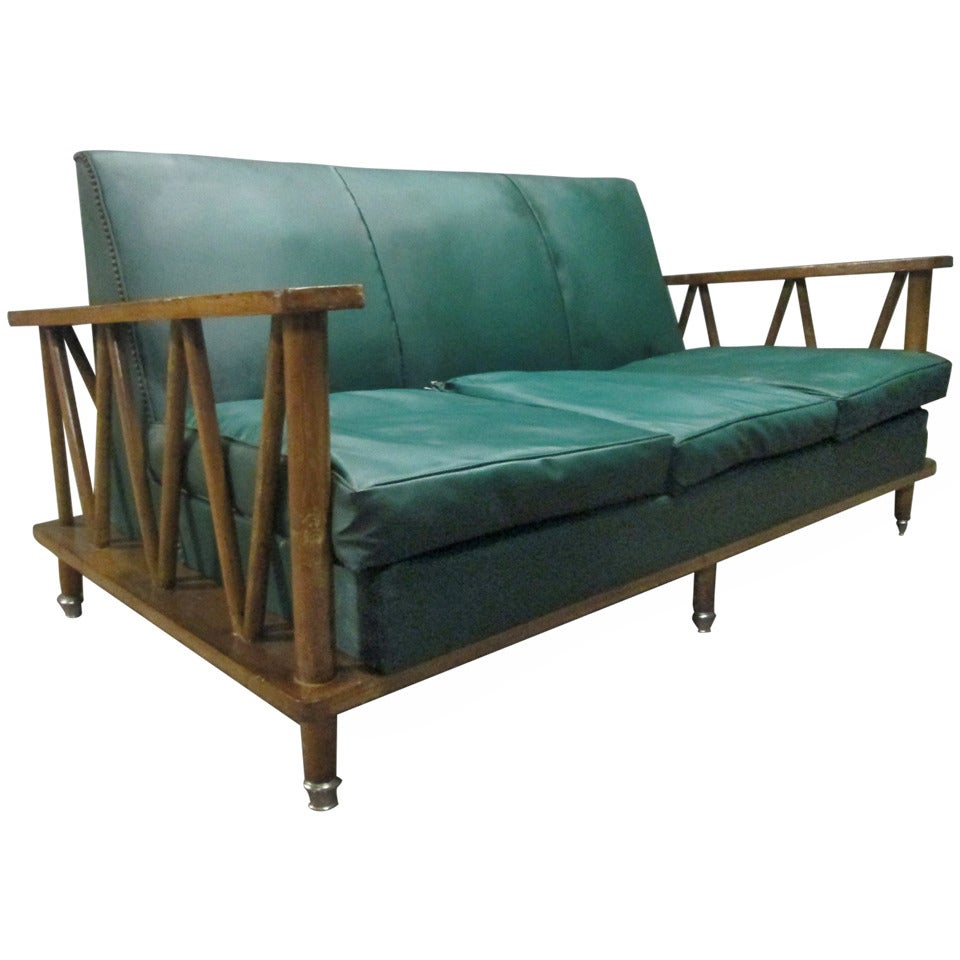 French Cerused Oak Loveseat in the Style of Jean Michel Frank For Sale