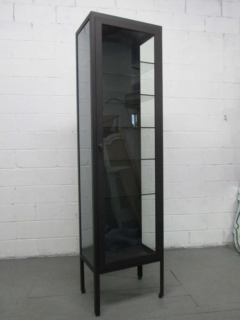 Tall Industrial Painted Metal & Glass Display Cabinet 2