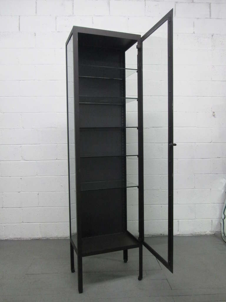 Tall Industrial Painted Metal And Glass Display Cabinet At