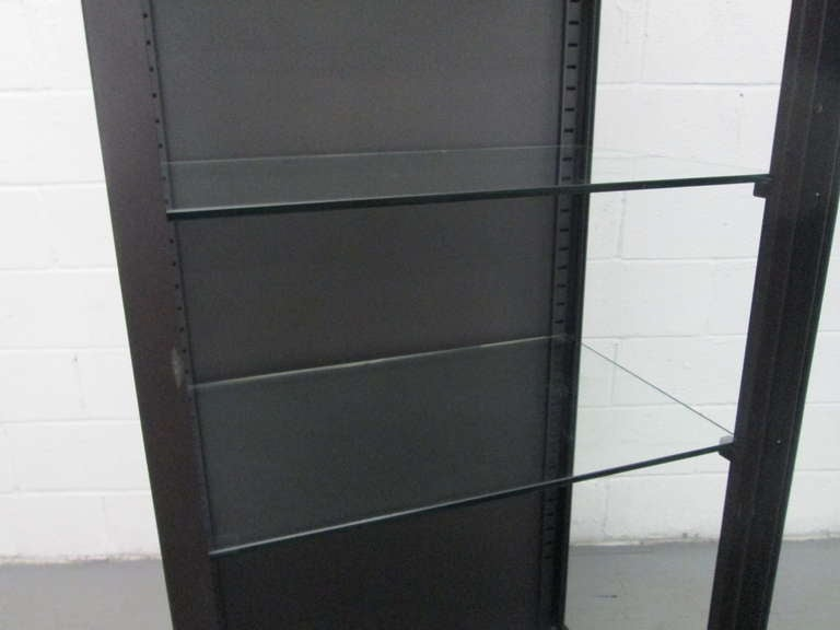 Tall Industrial Painted Metal & Glass Display Cabinet 5