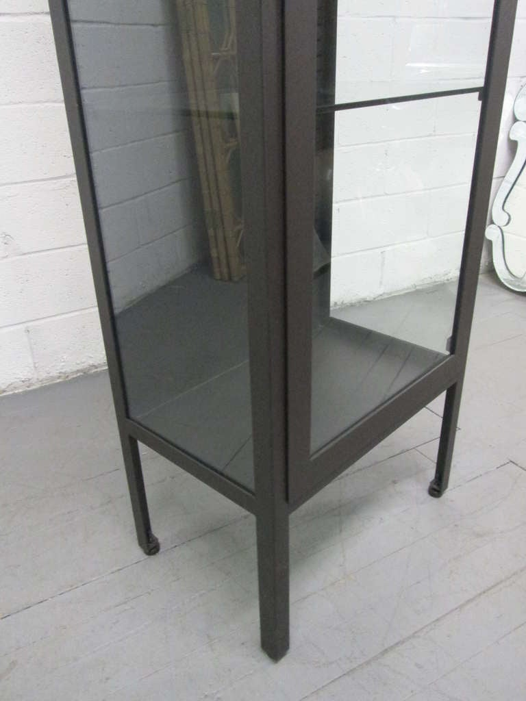 Tall Industrial Painted Metal & Glass Display Cabinet 4