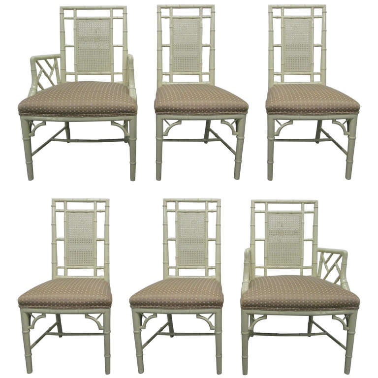 Six Faux Bamboo And Cane Back Dining Chairs With Two Arms