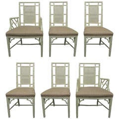 Six Faux Bamboo & Cane Back Dining Chairs with Two Arms