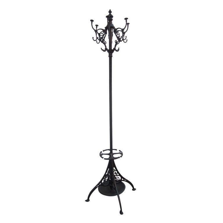 French Wrought Iron Coat Rack Umbrella Stand For Sale