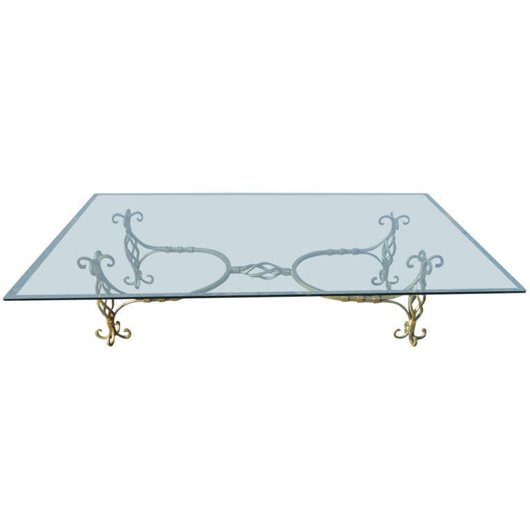 French Wrought Iron Coffee Table Manner of Gilbert Poillerat