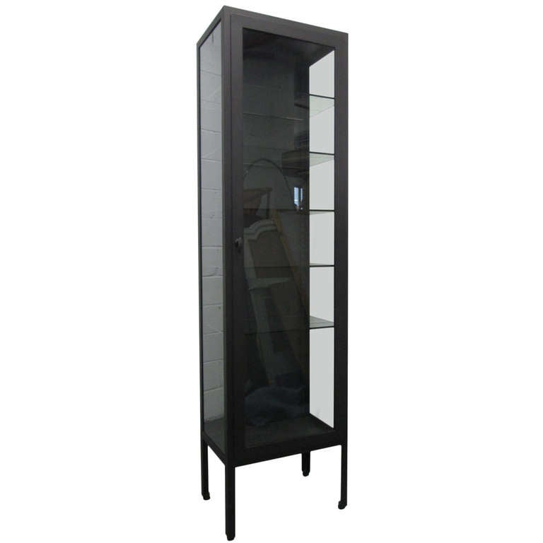 Tall Industrial Painted Metal & Glass Display Cabinet 1