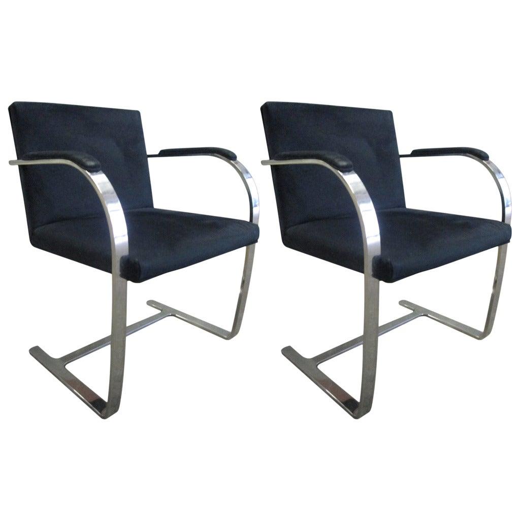 Pair flat bar mies van der rohe brno chairs for knoll at 1stdibs