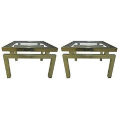 Pair of Brass End Tables in the Manner of Guy Lefevre