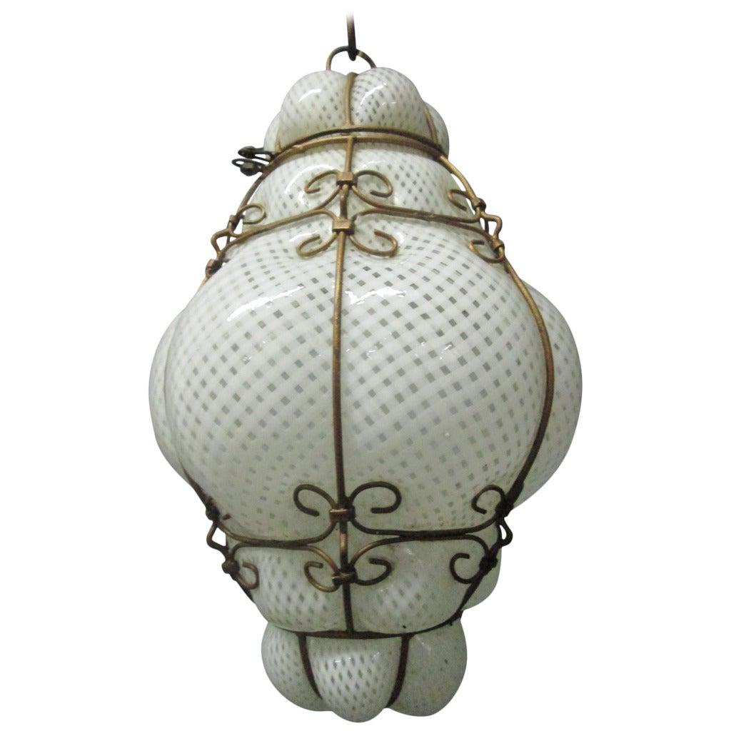 seguso murano glass cage pendant light at 1stdibs. Black Bedroom Furniture Sets. Home Design Ideas