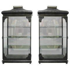 Pair Mixed Metal Display Cabinets Glass Shelves