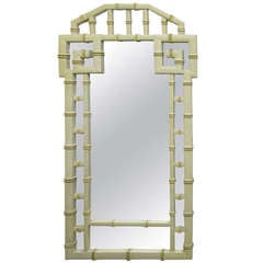 Faux Bamboo Mirror with Fret Work