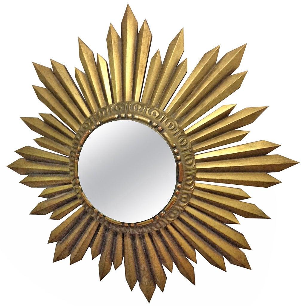 Gold gilt wood framed sunburst mirror for sale at 1stdibs for Sunburst mirror