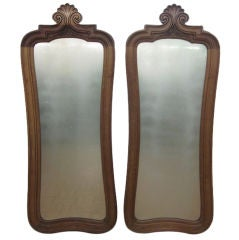 Pair of Antique Carved Solid Walnut Mirrors