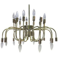 Italian Brass Twenty-Four-Arm Chandelier, Manner of Gino Sarfatti