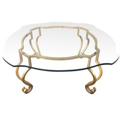 Wrought Iron French Gilt Coffee Table Attributed to Maison Ramsay