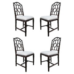 Faux Bamboo Chinese Chippendale Style Chairs