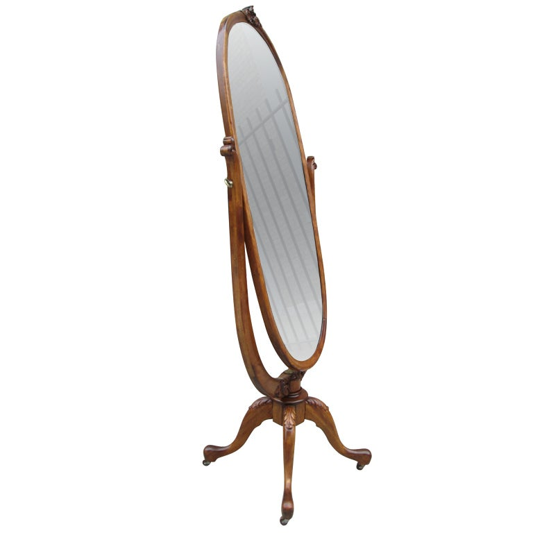 Spectacular Oval Shaped Cheval  Dressing Mirror At 1Stdibs-1970
