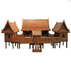 Architectural Model of a Japanese House in Glass Case
