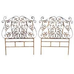 Pair of Italian Gilt Metal Twin-Size Headboards