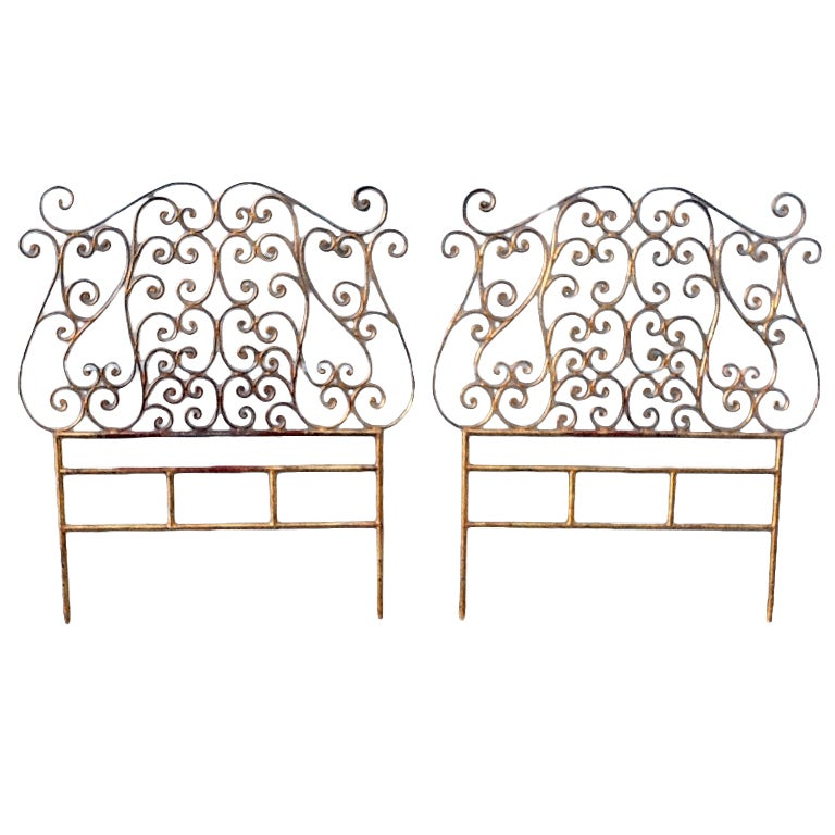 pair of italian metal gilt twin size headboards rococo style for sale at 1stdibs. Black Bedroom Furniture Sets. Home Design Ideas
