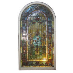 Large Leaded Stained Glass Arched Mirror