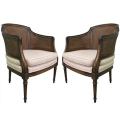Pair French Style Caned Chairs