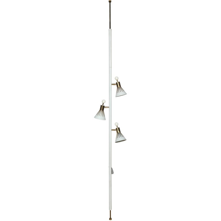 brass and white enamel 3 shade extension pole lamp for sale at 1stdibs. Black Bedroom Furniture Sets. Home Design Ideas