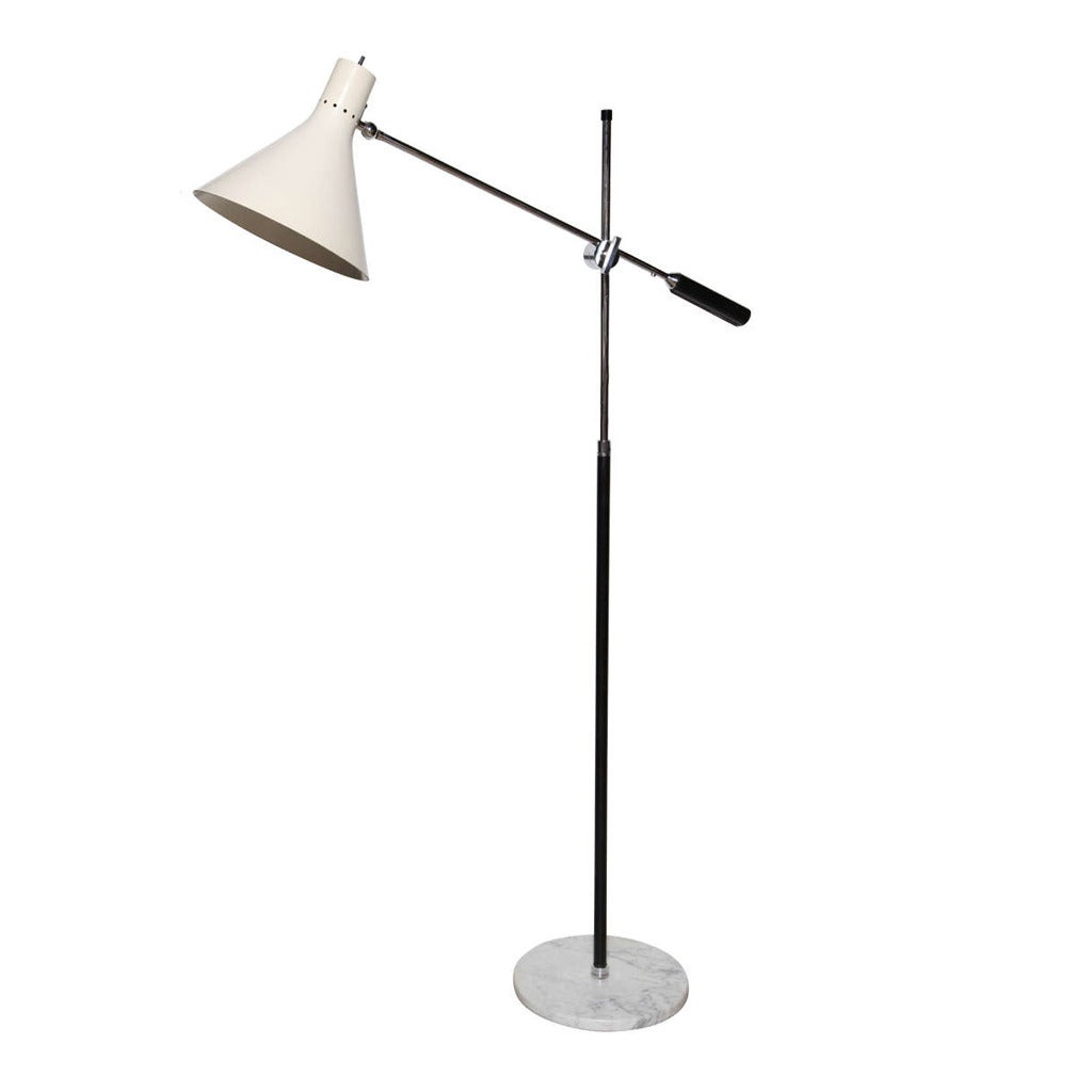 Casey Fantin One Arm Floor Lamp in Chrome, Black and Marble with ...