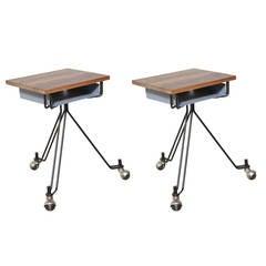 American Mid Century Pair of Eliot Noyes Rolling IBM Typewriter Tables